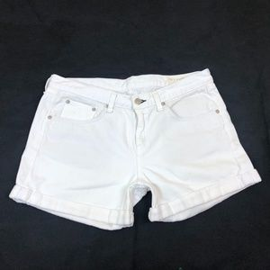 Rag & Bone White Denim Cuffed Shorts Size 29